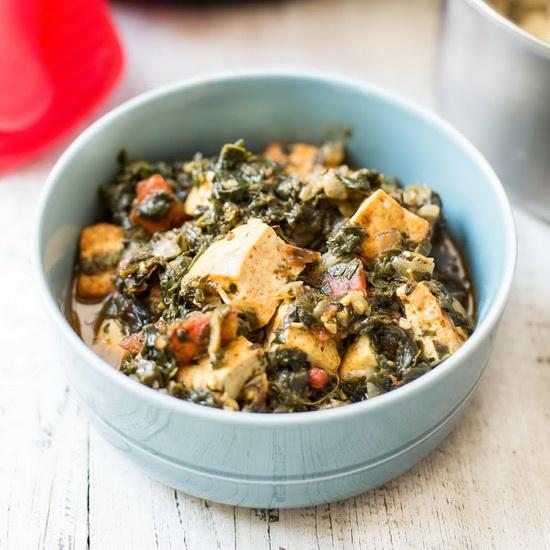 Pressure Cooker Saag Tofu (Ind