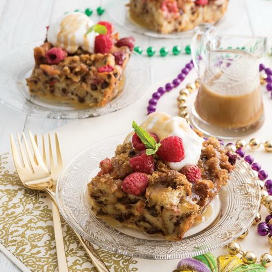 Raspberry Bourbon Bread Puddin