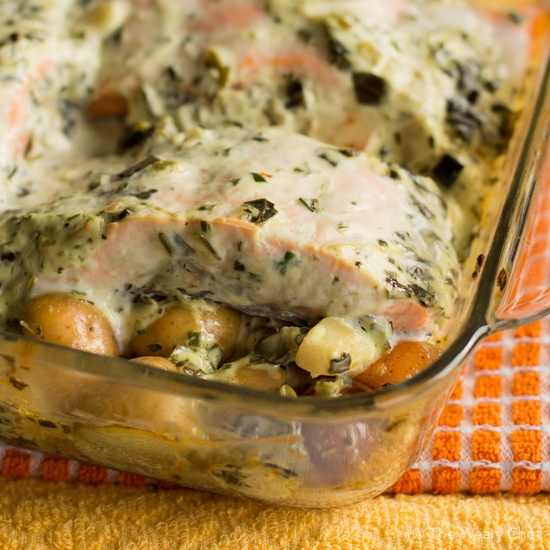Baked Salmon with Spinach