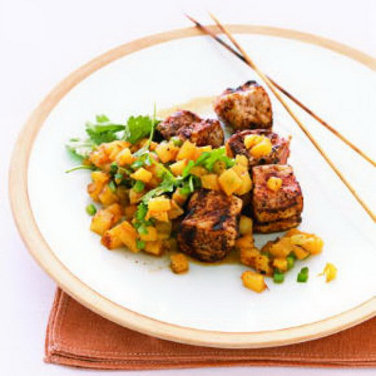 Chili-Rubbed Pork Kebabs With